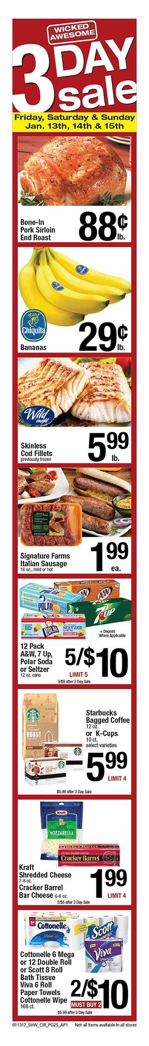 Shaws 3 Day Sale January 13 - 19, 2017 - http://www.olcatalog.com/grocery/shaws-3-day-sale.html