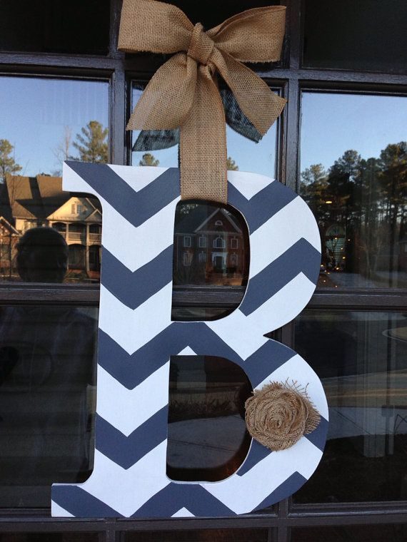 Door Hanger: Front door initial wood hanger by KnockinOnWood
