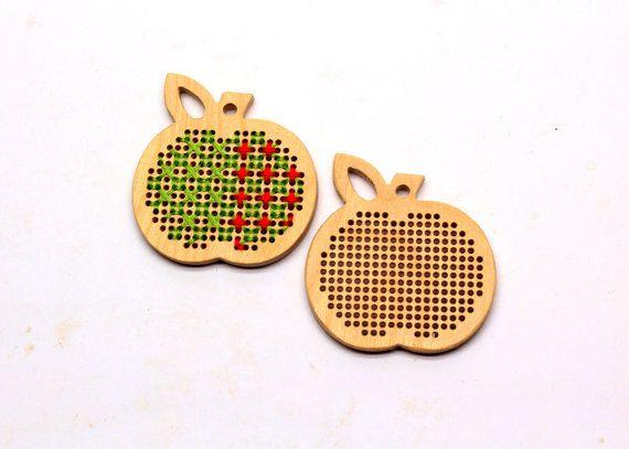 DIY wooden cross stitch blank small apple / by TinyLizardGifts