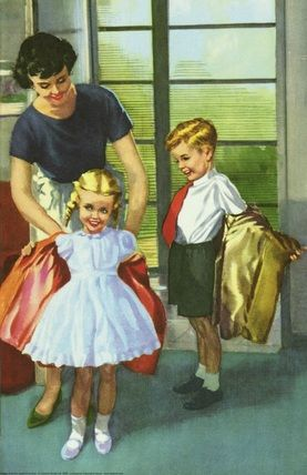Taking off coats - The Party - LadyBird Books 1960 ilustrator Harry Wingfield