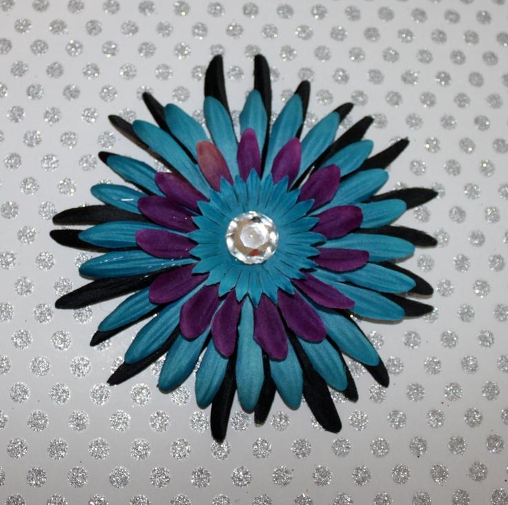 Halloween Black Teal and Purple Daisy Flower Hair Clip. $4.00, via Etsy.