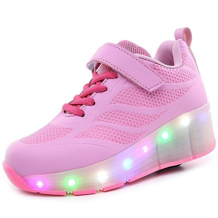 33.99$  Watch now  - Wheelie Shoes Pink Luminous Glowing Sneakers with Wheels Tenis De Led Com Rodinha Patin A Roulette Chaussures A Roulette Enfants