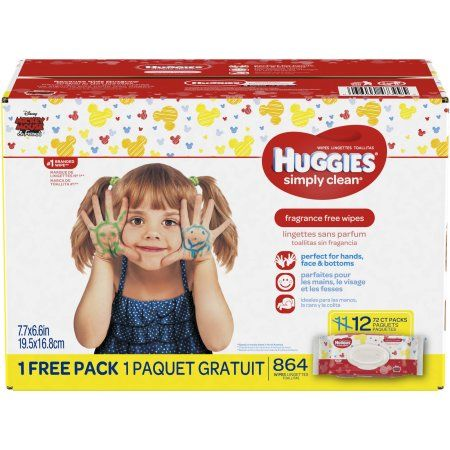 Huggies Simply Clean Fragrance-free Baby Wipes, Soft Pack (11-Pack Plus one Bonus Pack, 864 Sheets Total), Alcohol-free, Hypoallergenic