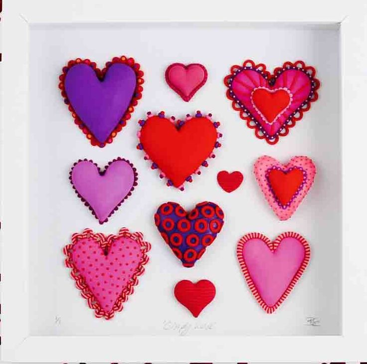 Beverley Edge -Hearts Collection made from Polymer clay - box frame 25 x 25cm $75