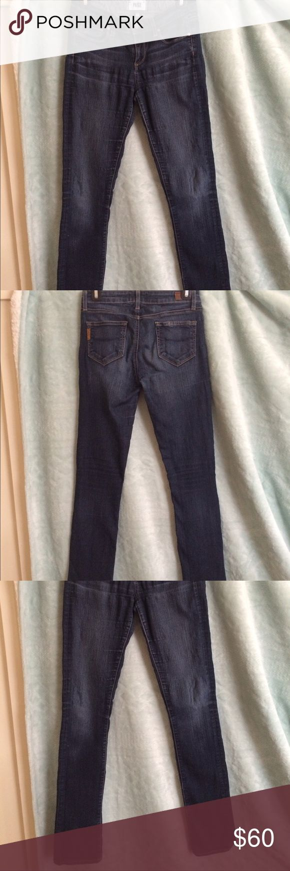 Paige Jeans These Paige jeans are stretchy and comfortable and have some wear in the knee and upper parts of the Jean where the material is a bit thinner and looks wrinkled. They are not quite skinny jeans- just a bit looser. Paige Jeans Jeans Straight Leg