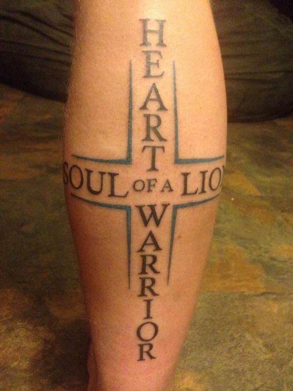 heart of a warrior soul of a lion tattoo