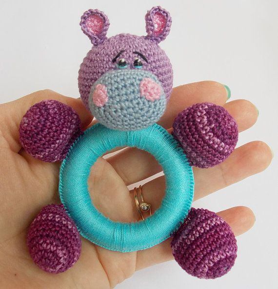 Crochet baby toy, Teething baby toy, Grasping and Teething Toys Hippo, stuffed toys Gift for baby!