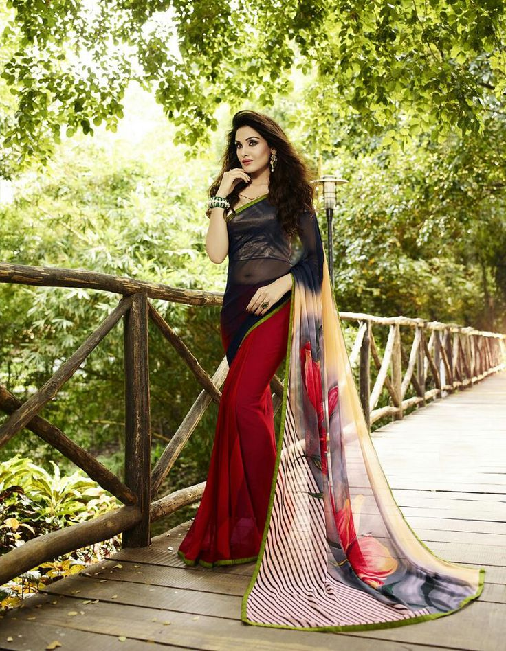 Maroon & Black Georgette Printed Saree