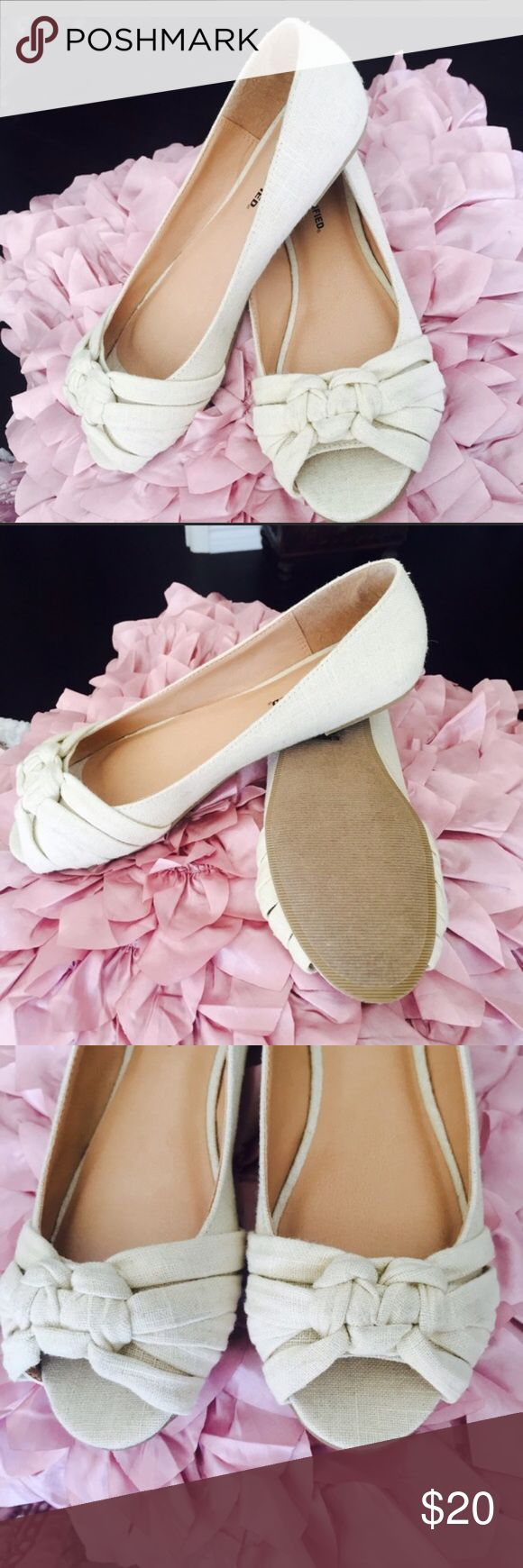 New in box open toe linen ballet flat Off white natural color. Really cute for spring through fall. There is a little glue probably from the sole on the inside side of one of the shoes but it is barely noticeable. Shoes Flats & Loafers