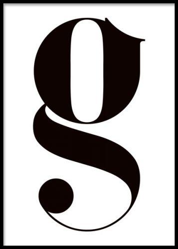 Little g, poster. Bokstavstavla med litet g i svart ram.Poster med typografi, litet g i svart på vit bakgrund. En stilfull tavla som ändå är enkel och därför passar överallt. Snygg med svart ram eller med klämma.
