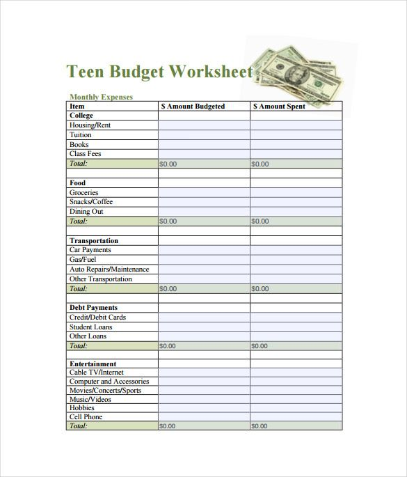 teen budget spreadsheet free template   budget spreadsheet