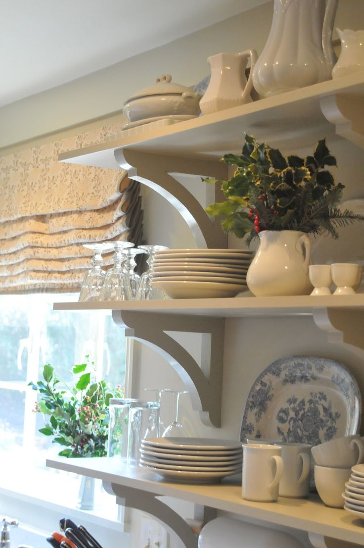 white open shelves and brackets .. white dishes with pitchers and platters | nineandsixteen ... christmas in our kitchen