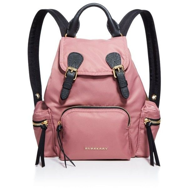 Burberry Small Nylon Backpack ($1,150) ❤ liked on Polyvore featuring bags, backpacks, red backpack, lightweight rucksack, lightweight backpack, light weight backpack and strap bag