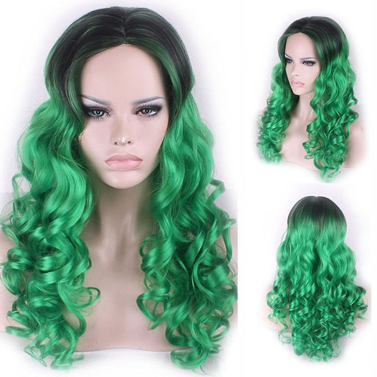 65cm Fashion Women Sexy Long Curly Wavy Cosplay Wigs Ladies Black Mix Green Wig #Unbranded