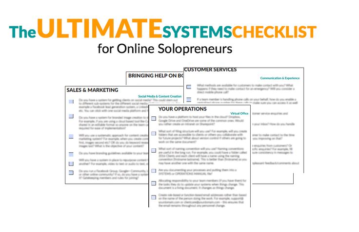 Free download of the Ultimate Systems Checklist for Online Solopreneurs. Download it here https://vanessaleota.leadpages.co/ultimate-systems-checklist-freebie/