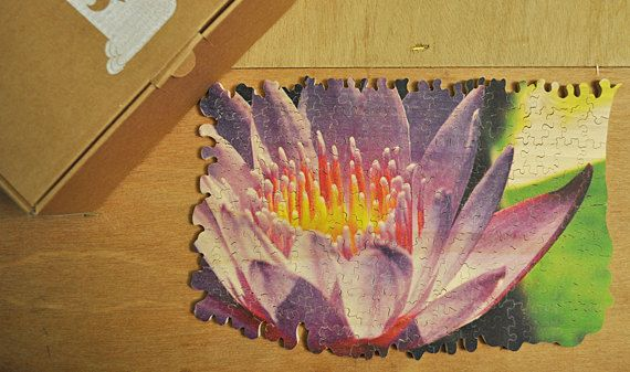 Spring smells flood your senses and remind us wonderful memories of the old days! Purple flower - hand cut wooden puzzle