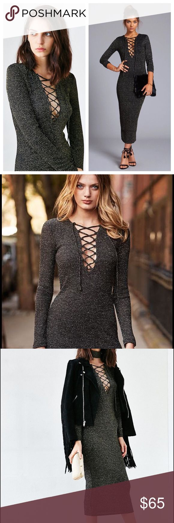 NWT Lace Up Glitter Metallic Bodycon Dress Bardot Brand new with tags. Ribbed material tons of stretch and glitter accents. Smoke free pet friendly Urban Outfitters Dresses Long Sleeve