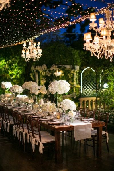 Romantic garden wedding dinner: http://www.stylemepretty.com/california-weddings/beverly-hills/2014/11/19/elegant-classic-california-wedding-in-beverly-hills/ | Photography: Birds of a Feather - http://www.birdsofafeatherphoto.com/