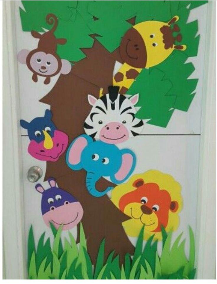 Jungle Classroom Decoration ~ Kapı süsü sanart sanatetkinliği pano art sanat