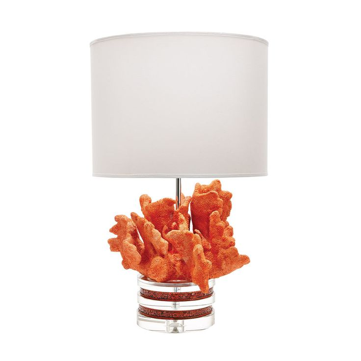 Crystal Accented Textured Fire Coral Table Lamp Elk 225088  Fire Coral And Crystal Lamp With White Suede Shade