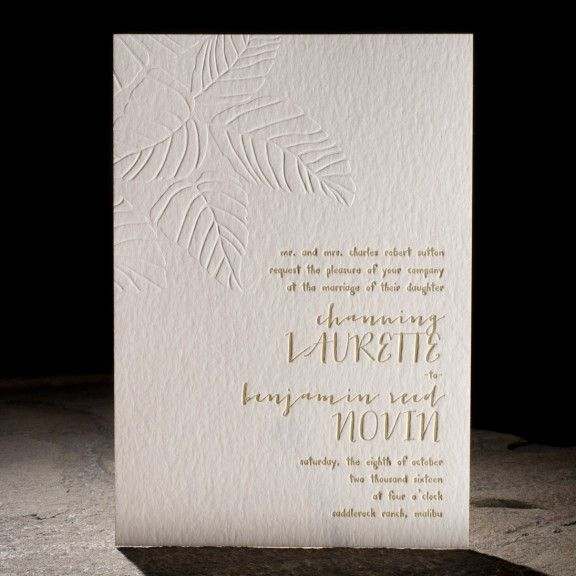 the bristen customization. design highlights: blind embossing. modern type. colorful patterned envelope liners. tropical chic.