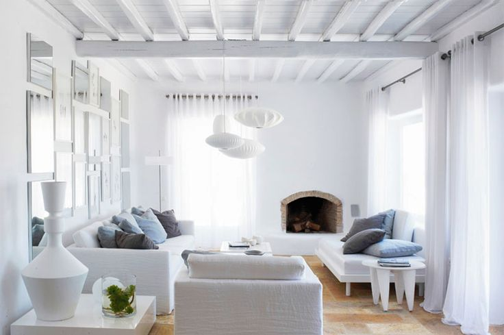 summer house: Interior Design, Living Rooms, Livingrooms, Summer House, Mykonos, Interiors, Space, White Room