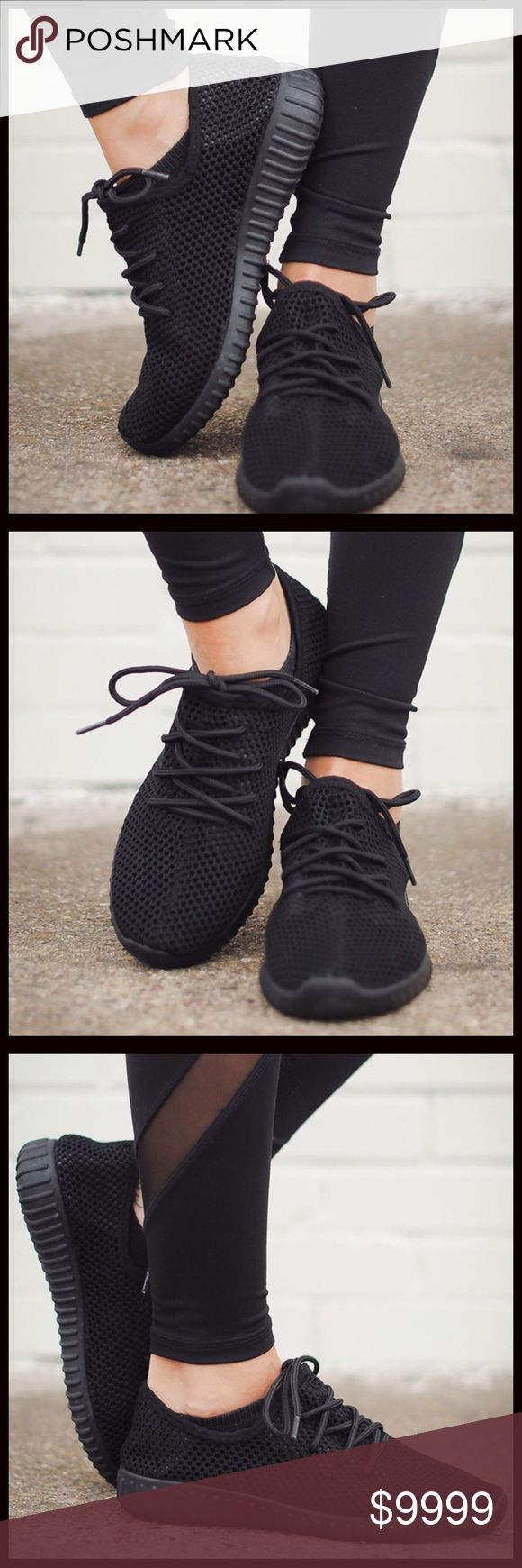 JUST IN‼️BESTSELLER NOW IN BLACK I can't get enough of this style of sneakers. They are perfect to throw on and go and so comfy. A customer Favorite in the grey and pink. Lightweight and so comfortable. Inside sole has a memory foam feel. Similar look to the celebrity Favorite yeezy brand. Runs true to size. 5⭐️ shoes. Bundle and save 10%. No trades. Shoes Sneakers