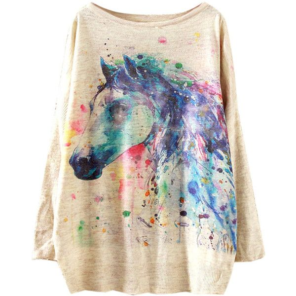 Beige Painted Horse Print Bat Sleeve Sweater (£20) ❤ liked on Polyvore featuring tops, sweaters, batwing sleeve tops, acrylic sweater, round top, long tops and bat sleeve tops