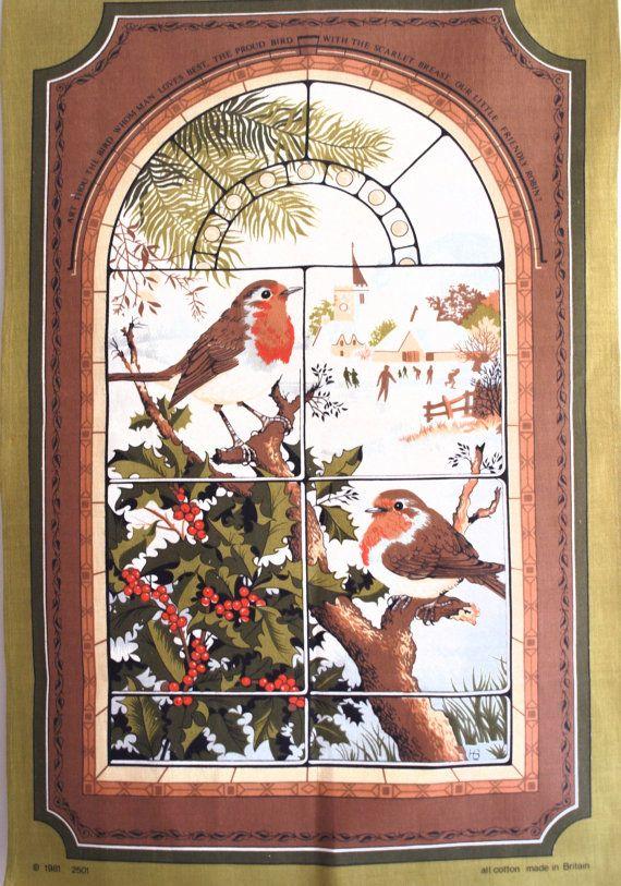 Robin Red Breast Christmas Festive Tea Towel  by FunkyKoala