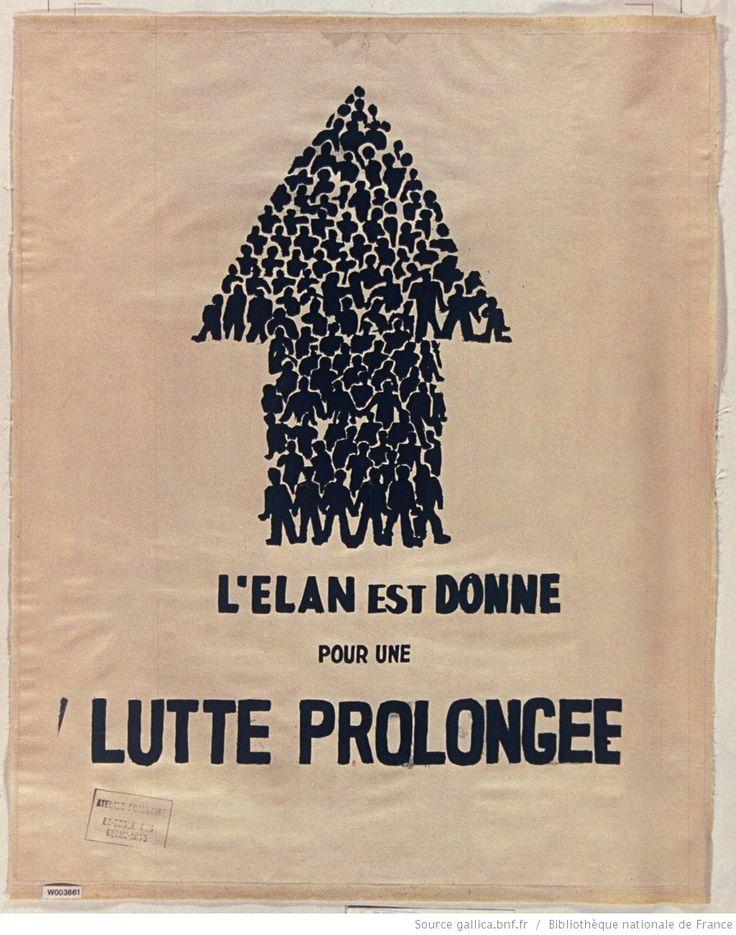 [Mai 1968]. L'élan est donné pour une lutte prolongée, Atelier populaire, ex Ecole des Beaux-Arts : [affiche] (Impression vert sur blanc) / [non identifié]