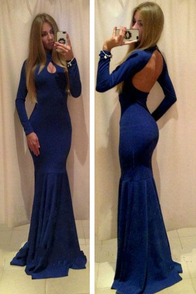 Sexy Backless Blue Mermaid Long Evening Dresses, Long Sleeves Neck with Hollow Floor Length Formal Party Gown Prom Dress