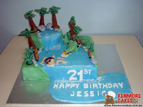 Man Swimming from Crocodile Birthday Cake.