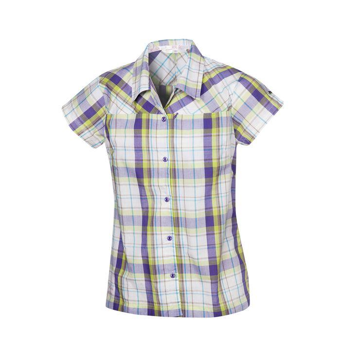 Halti Roosa -paita siirtää kosteutta tehokkaasti ja pitää kuivan tuntuisena. (54,90€) #Halti #T-shrit #Plaid #Checked