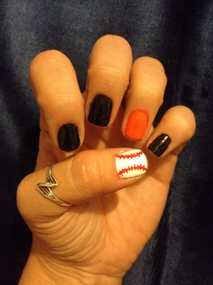 7 best Sporty nails images on Pinterest | Sf giants nails, Baseball ...