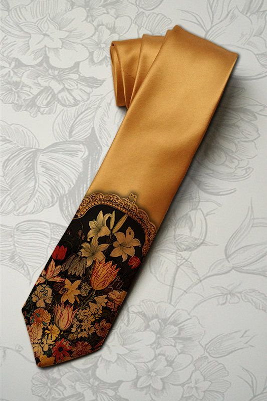 Floral necktie for woman. Unique floral pattern on womas tie inspired by Dolce and Gabana fashion collection. Honey gold tie.. $30.00, via Etsy.