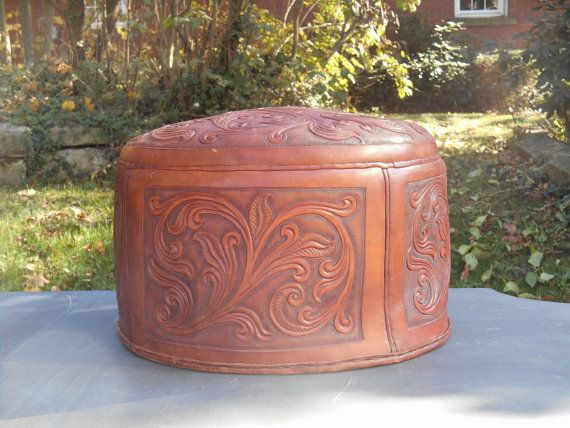 vintage Hat Storage Boxes | Tooled Leather Hatbox Vintage Hat Box Carrying Case with Zipper, Latch ...