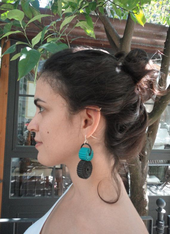 unusual jewelry-eco friendly earrings-light weight earrings-paper earrings with chunky beads of corrugated paper black and light sea green