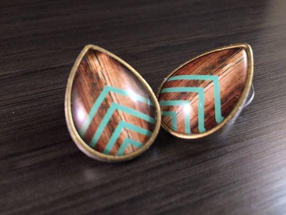 0g Teardrop Plugs 00g 2g 4g Mint Chevron Body Jewelry Tear Drop Ear Gauges Wood Pattern Accent
