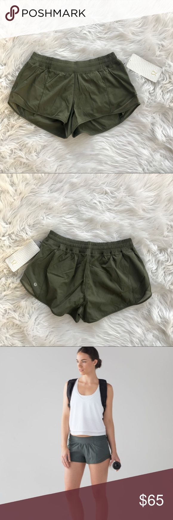 • Lululemon • Hotty Hot Shorts Fatigue Green New - Lululemon - Hotty Hot Shorts ll - Swift Fabric  - Built In Liner  - Secret Stash Pocket - Discreet Zippered Pocket  - Fatigue Green  - New with Tags  - No Trades  - Stock Photos are of a different color, used to show Fit lululemon athletica Shorts