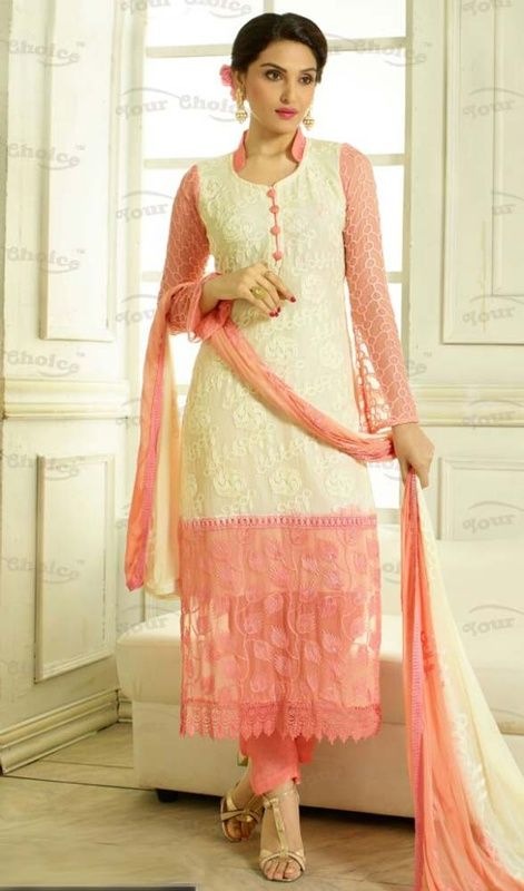 You can be confident to make a effective style statement with this cream and pink color chiffon pant style suit. The ethnic lace and resham work to the attire adds a sign of magnificence statement to your look.  #fancystraightdress #straightcutsalwarkameez #fashionablestraightsuit