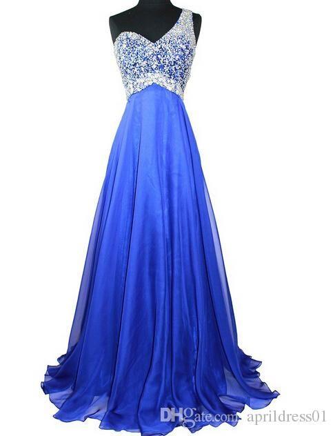 Blue A Line Chiffon Long Prom Dresses Special Occasion Dresses One Shoulder Bead Ruffles Vestido De Fiesta Floor Length Prom Evening Gown Black Prom Dress Camo Prom Dresses From Aprildress01, $152.77  Dhgate.Com