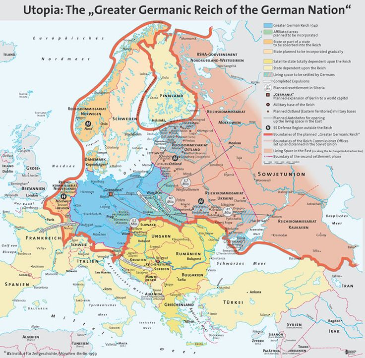 """Hitler's Map of the planned """"Greater German Reich""""."""