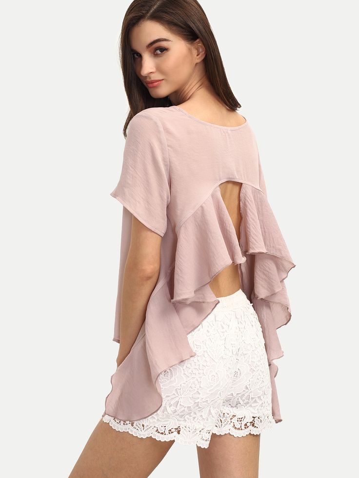 Pink+Short+Sleeve+Backless+Ruffle+Blouse+13.99