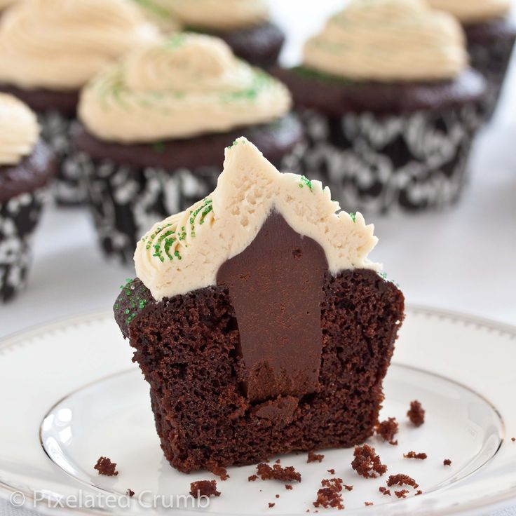 Cross-section of Chocolate Stout Cupcakes with Whiskey Ganache Filling and Irish Cream Frosting