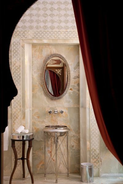 I like the subtle pattern. Rich slabs of marble and intricate tile work result in spectacular bathrooms at the Royal Mansour in Marrakech.