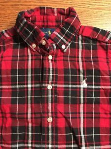 Polo, Ralph Lauren Toddler Boys Size 4T Holiday Plaid Flannel Long Sleeve Shirt  | eBay