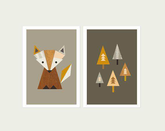 Little Fox vivero arte, zorro en el bosque la serie de grabados, arte Fox, niños sala de arte, escandinavo, arte moderno vivero, vivero de Fox.