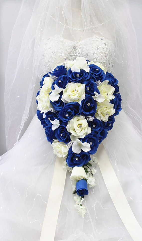 Cascade Wedding Bouquet Horizon Royal Blue And Ivory Keepsake