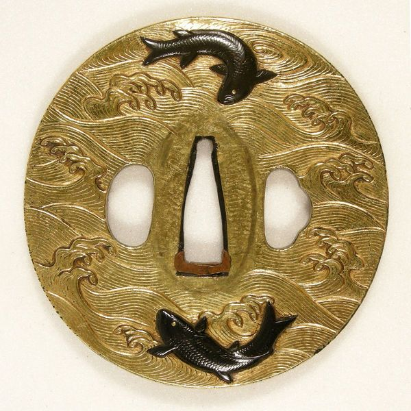 Tsuba. Kyoto, Japan. ca. 1700. Shobei, Sasaki (maker). copper covered in gold foil relief with copper-gold alloy (<i>shakudo</i>) detailing