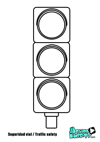 Colorear semaforo, pintas señales trafico, recursos seguridad vial -- Traffic light coloring pages, traffic signs, road safety resources